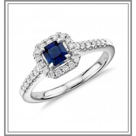 Asscher Cut Sapphire and Diamond Halo Gemstone Ring