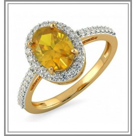 Citrine And Diamond Ring In 18Kt Gold