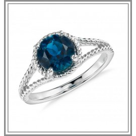 London Blue Topaz Rope Gemstone Ring in Sterling Silver