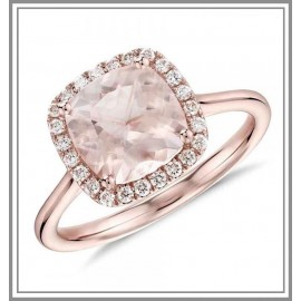 Morganite and Diamond Halo Cushion Ring