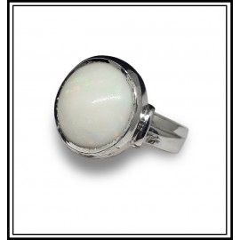 Astrological Opal Silver Ring