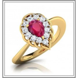 Ruby 18 Kt Yellow Gold  with diamonds